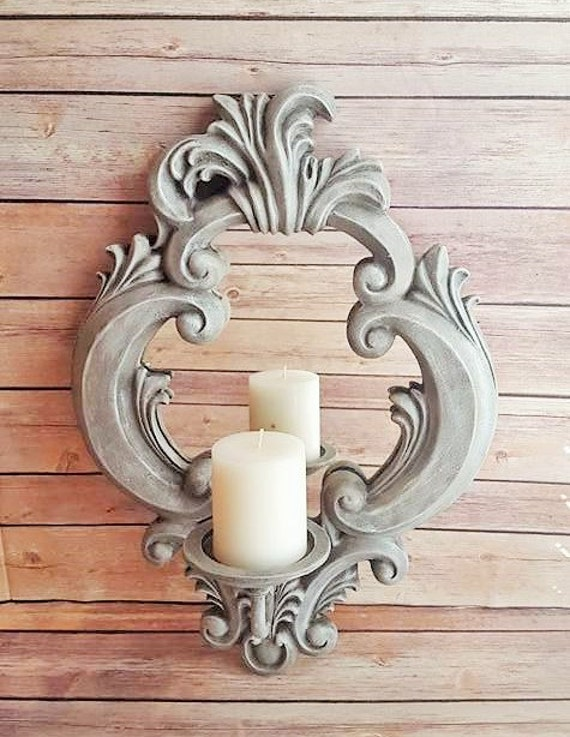 wall mirror sconce candle holder grey ornate up cycled eco. Black Bedroom Furniture Sets. Home Design Ideas