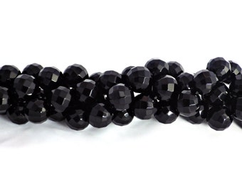 10mm Faceted Black Onyx Beads - 64 Facets - Approximately 38 beads