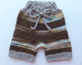 Handknit Wool Shorts, Wool Soaker, Wool Diaper Cover, Cloth Diaper Cover, size Small/Medium