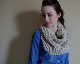 SUMMER SALE Chunky Knit Cowl Neckwarmer Scarf // The NORDIC // Oatmeal