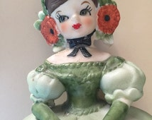 SALE Lefton Figurine Girl in Green Dress with Parasol 1960s Vintage Sticker on Place