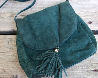 Green Suede and Leather Cross-Body Bag