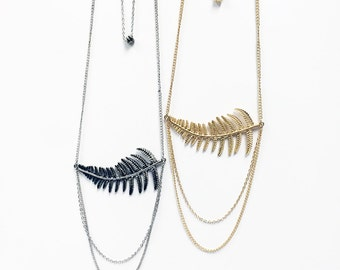 Side leaf pendant multilayer chain necklace with cascading chains