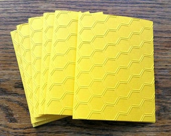 6 Honeycomb Embossed Cards - Blank Cards - Note Card Set - Yellow Cards - Honeycomb Cards Set- All Occasion Cards - Handmade Cards