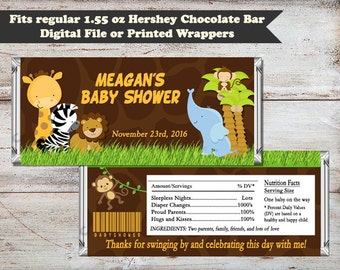 Safari Baby Shower, Safari Candy Bar Wrappers, Jungle Baby Shower, Jungle Candy Bar Wrappers, Safari Party Favors, Digital or Printed