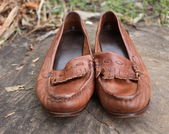 Leather Brown Loafers size-7 N