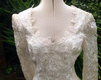 Vintage 1950's Wedding Dress, Ivory Wedding Dress, Bridal Wear