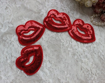 4 pcs Sequined lip applique patch red mouth embroidered patch T-shirt or bags decoration patch