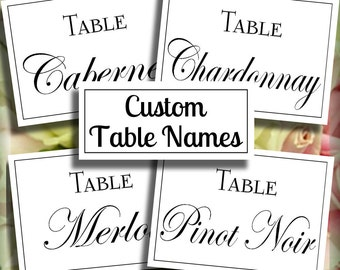 Customized Table Name Signs | Your Choice of Table Names | Printable Download