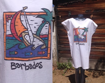 Vintage Barbados Beach Cover Up White T-shirt Souvenir One size Graphic Sailboat Swim 1980s Eighties Tourist
