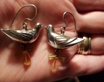 """Vintage Sterling Silver """"Partridge In a Pear Tree Earrings"""""""