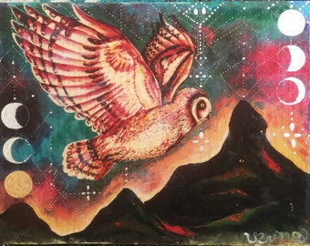 Pueo Moonrise Hand painted wood transfer
