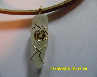 Gold wire wrapped sea glass necklace