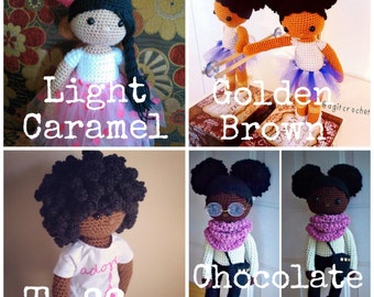 African American Doll, Natural Hair Inspired Doll, Custom Crochet Doll