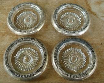 Antique Drink Coasters Sterling Silver Brim And Art Glass Sunburst Coaster Set Of Four Vintage STC Hallmarked Silver