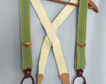 Green Suspenders Vintage Elastic Stretch Striped Brown Leather