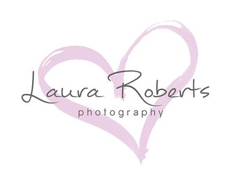 Pre-made Logo Design & Photography Watermark - Heart Logo Template - Watercolor Logo - Premade Photography Logo - Heart Watermark - 483