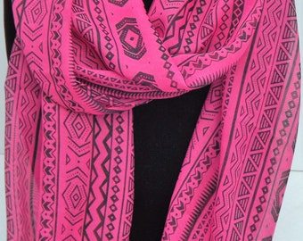 Infinity Scarf w/ hot pink & black Aztec print fabric