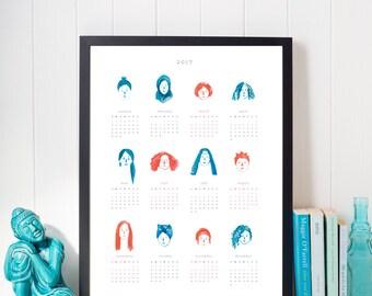 2017 calendar: girls