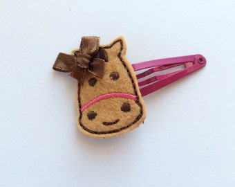 Pink Horse Hair Clip - Felt Horse Snap Clip Barrette - Horsie Barrette for Toddler - Girls Hair Clip - Cute Horse Clippie -