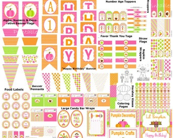 Pink Pumpkin Birthday Printables, Pink Orange Pumpkin Party, Pumpkin Patch Party Decor, Thanksgiving Birthday, Fall Party -Printables 4 Less