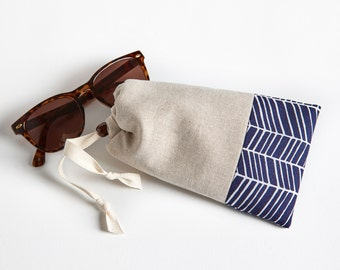 Padded Sunglasses Case  with Cleaning Cloth, Glasses Case, Navy Herringbone by Made on Main VT - Stocking Stuffers for Women