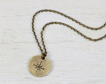 Antique Brass Compass Rose Necklace--Happy Place--Safe Haven--True North--GPS