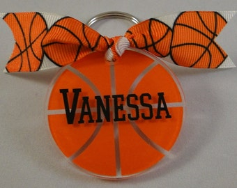 Personalized Basketball Keychain bag tag with name and Ribbon - Your choice of color for name