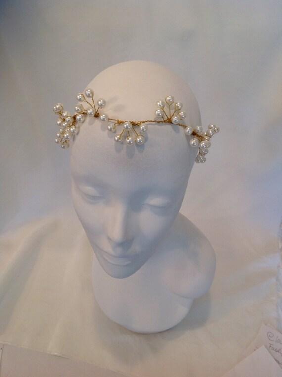 Wedding Headpiece, Bridal Tiara, Wedding Wreath, Pearl Wreath, Gold Wreath,BohoCrown,PearlCrown -Princess Reyana