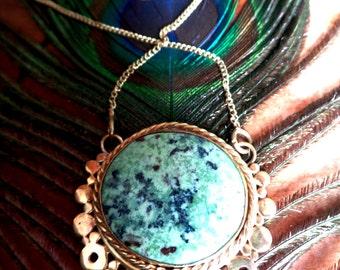 apple turquoise necklace in brass