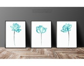 Lotus Art Print set 3 Teal Wall Decor, Abstract Flower Watercolor Painting, Green Blue Turquoise Water Lily Floral Home Decor, Three Flowers