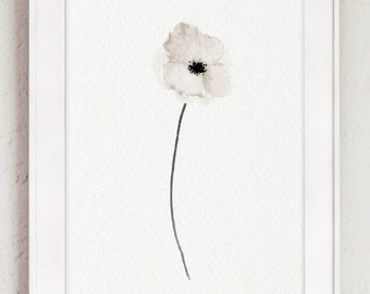 White Poppy Abstract Art Print Woman Anniversary Gift Idea Nursery Room Poster Floral Watercolor Painting, Taupe Gray Kids Room Illustration