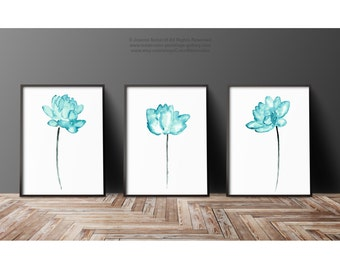 Superieur Lotus Art Print Set 3 Teal Wall Decor, Abstract Flower Watercolor Painting,  Green Blue