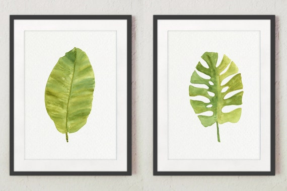 Green Leaf Watercolor Painting Banana Tropical By