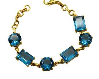 Riyo A Blue Topaz Cz  18kt Gold Plated Scratchresistant Bracelet W 7.5in Gpbrabtcz-92004