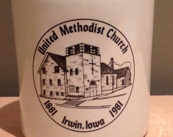 Vintage 1981 Irwin, Iowa-United Methodist Church 1881-1981 Commemorative Souvenier Crock-like Container. Thin Ceramic with beautiful graphic