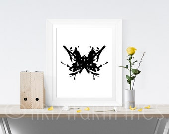 abstract art print abstract print wall art black and white wall art prints rorschach style ink blot inkblot style poster psychology gifts