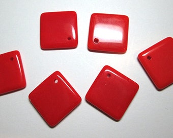 6 Vintage Red Glass Squares with Holes