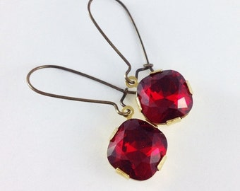 SUMMER SALE 25% OFF Ruby red earrings, antique brass kidney ear wires, square red Swarovski crystal jewelry, vintage style drop earrings