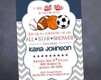 Printable Baby Shower Invitation - All Star Sports - 5x7