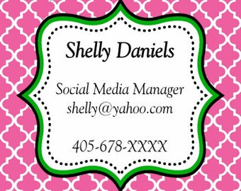 Gift Tags, Hot Pink, Quatrefoil, Tags, Business Cards, Calling Cards, Appointment Cards, Personalized Gift Tags
