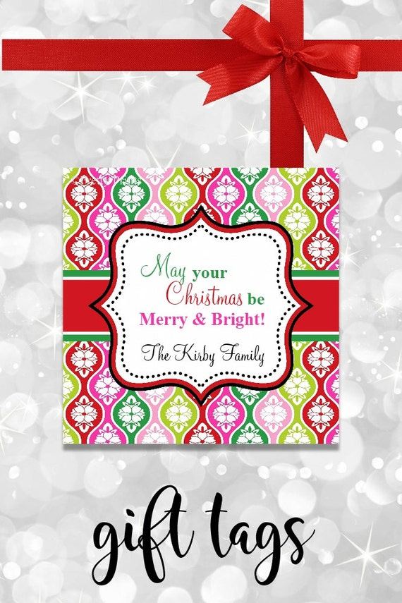 Colorful Christmas Gift Tags - Printable - Personalized Christmas Tags - Merry Bright Gift Tags