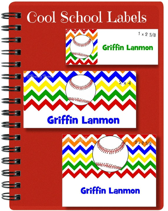 Baseball Stickers, School Labels, Back to School, Baseball, Chevron, Personalized Stickers, Personalized Labels, Sports, Baseball Labels