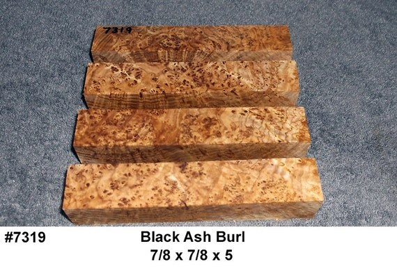 7319 Black Ash Burl 4 Pack Jumbo Pen Blanks Knife Scales