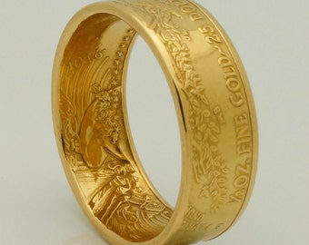 Gold Coin Ring 2016 or 2017 Bullion - 1/2 Ounce American Eagle 22K - Wedding Band - Double Sided - Polished Finish