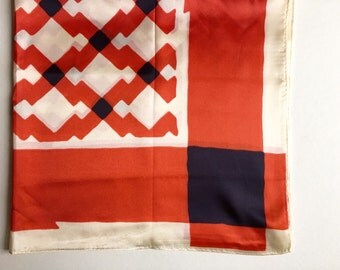 Vintage Graphic Scarf,  Red, White and Blue Scarf,  Made in Italy, Acetate Scarf, 70s Scarf