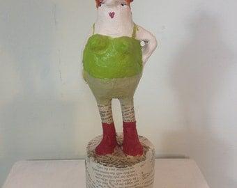 Papermache figurine,art doll,proud gardener