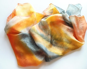 Silk scarf, Hand Painted Silk Scarf, silk orange gray abstract design square scarf