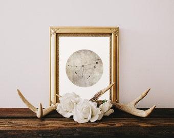 Capricorn Constellation, Wall Art Prints, Art Print Poster Capricorn Art, Capricorn Zodiac, Zodiac Print, Zodiac Sign