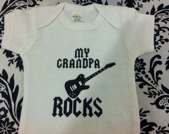 My grandpa rocks cool guitar grandchild funny baby bodysuit one piece short sleeve size and color choice boy or girl funny